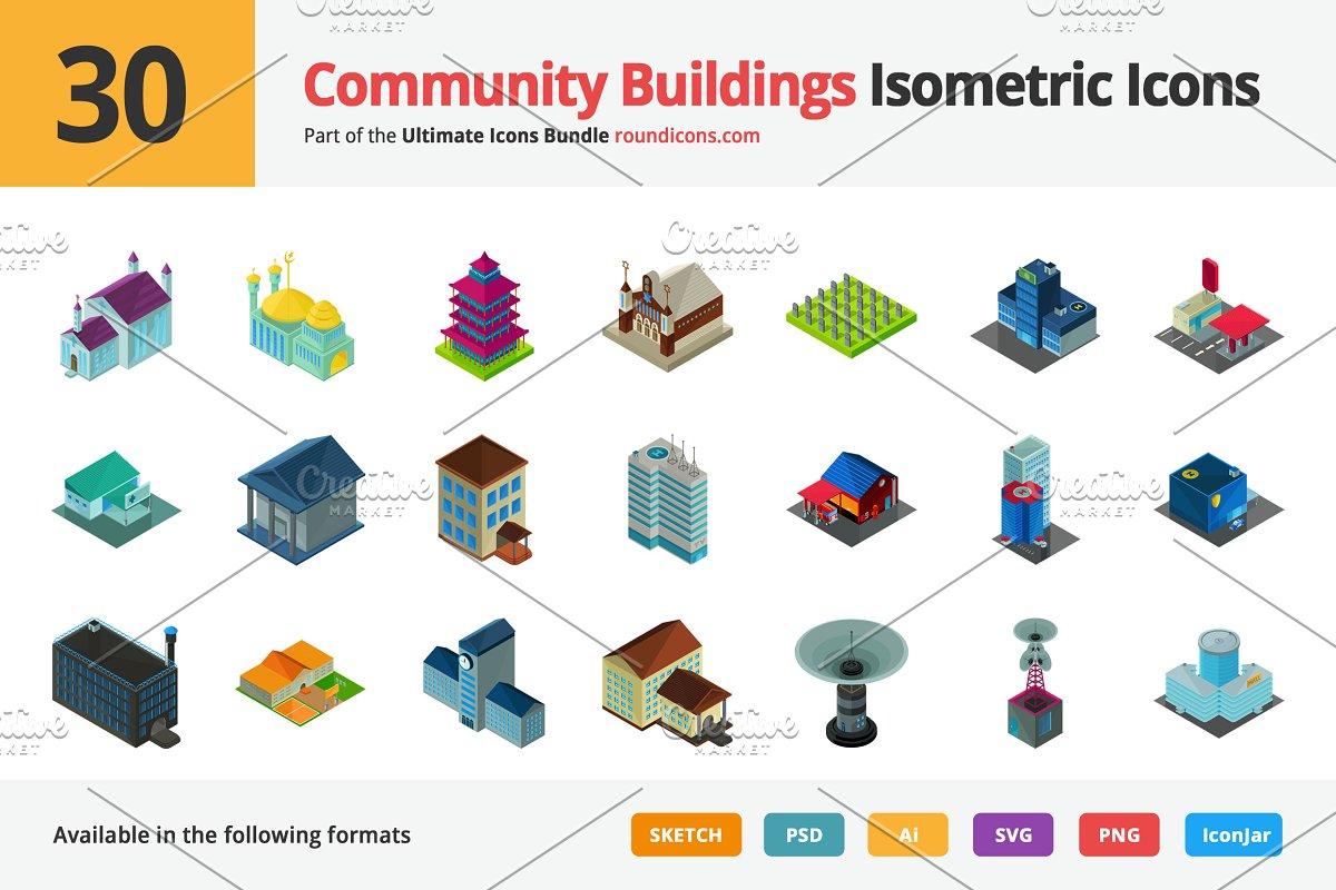 30 Community Isometric Icons Icons Creative Market