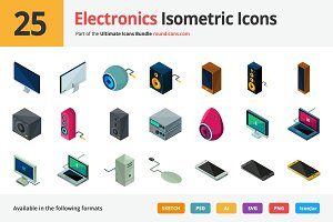 25 Electronics Isometric Icons