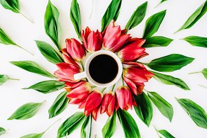 Floral ornament with coffee