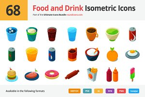 68 Food and Drink Isometric Icons