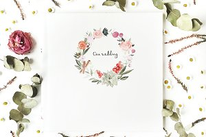 Floral composition with wedding book