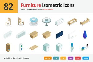 82 Furniture Isometric Icons