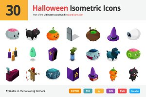 30 Halloween Isometric Icons