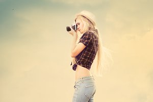 blonde photographer