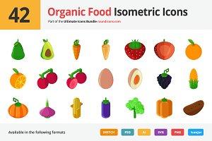42 Organic Food Isometric Icons
