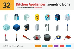 32 Kitchen Appliances Isometric Icon