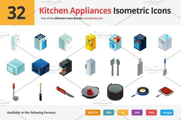 32 Kitchen Appliances Isometric Icon Icons Creative Market
