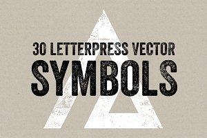 30 Letterpress Vector Symbols