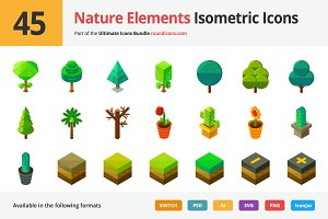 45 Nature Elements Isometric Icons