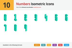 10 Numbers Isometric Icons