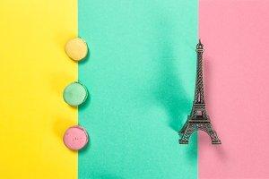 Macaroon cookies Eiffel Paris