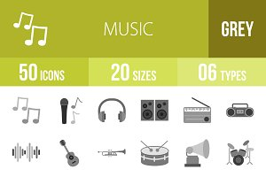 50 Music Greyscale Icons