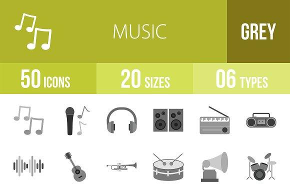 50 Music Greyscale Icons