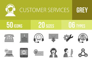 50 Customer Services Greyscale Icons