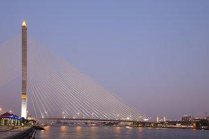 Rama VIII bridge in dusk.