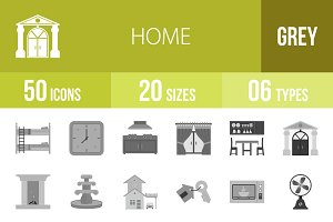 50 Home Greyscale Icons