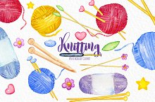 Knitting watercolor clipart