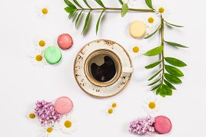 Coffee, french cookies macaroons