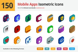 150 Mobile Apps Isometric Icons