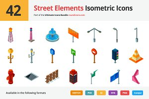 42 Street Elements Isometric Icons