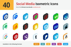 40 Social Media Isometric Icons