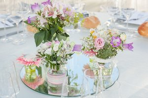 Floral arrangement in formal table