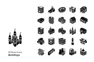 Buildings glyph vector icons