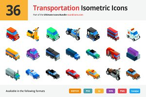 36 Transportation Isometric Icons