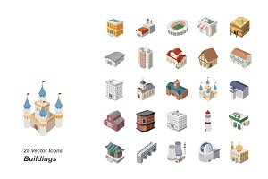 Buildings color vector icons