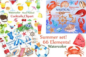 Summer Bundle watercolor clipart