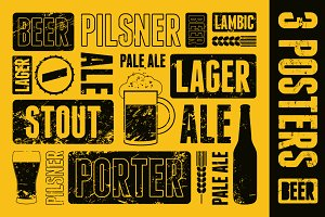 Typographic retro beer poster.