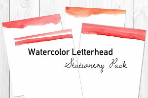 Red Watercolor Letterhead PDFs