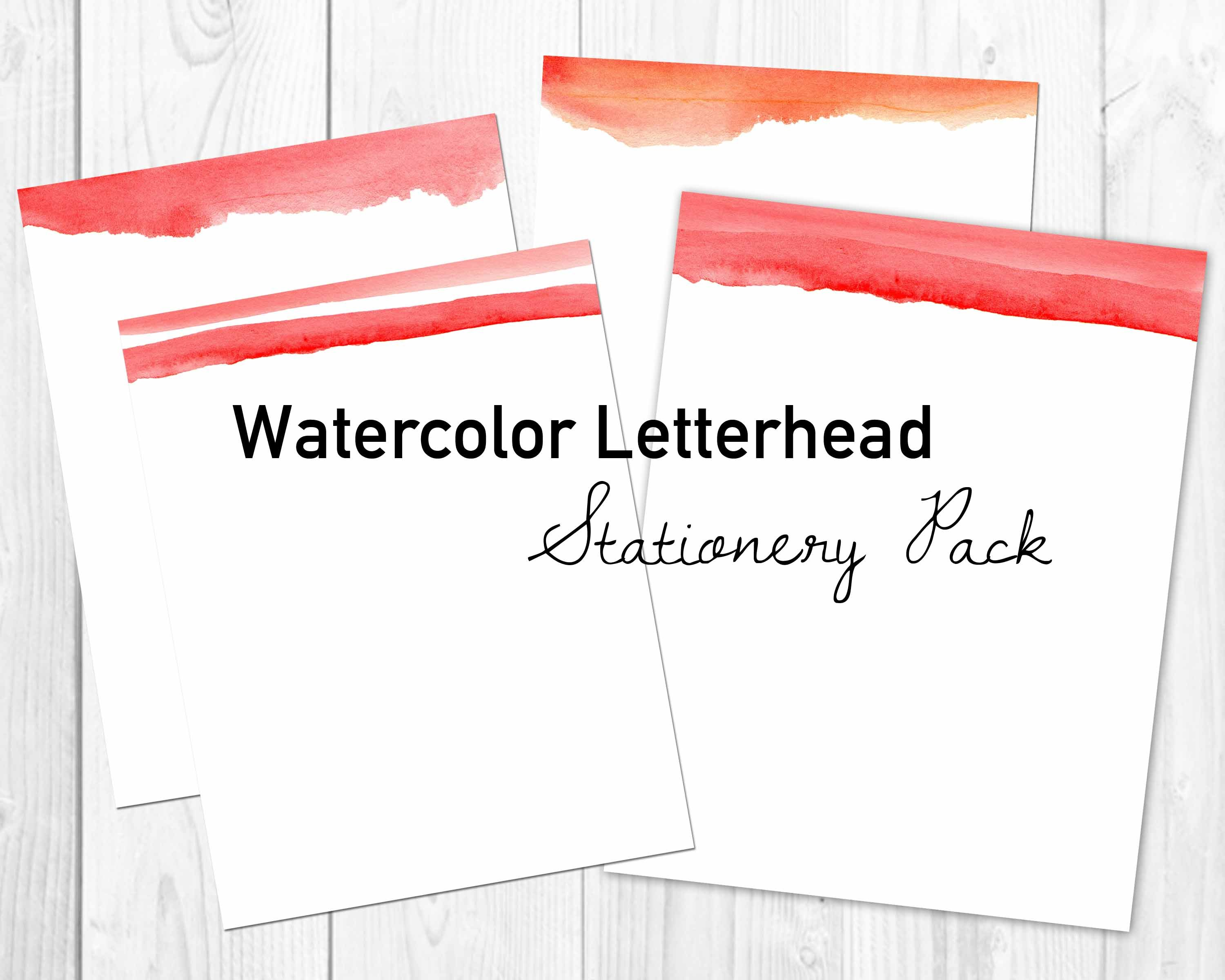 red watercolor letterhead pdfs stationery templates creative market