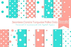 Coral & Turquoise Polka Dots