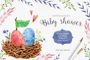 Baby Shower. Watercolor kit