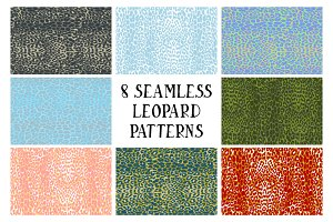 8 seamless leopard patterns
