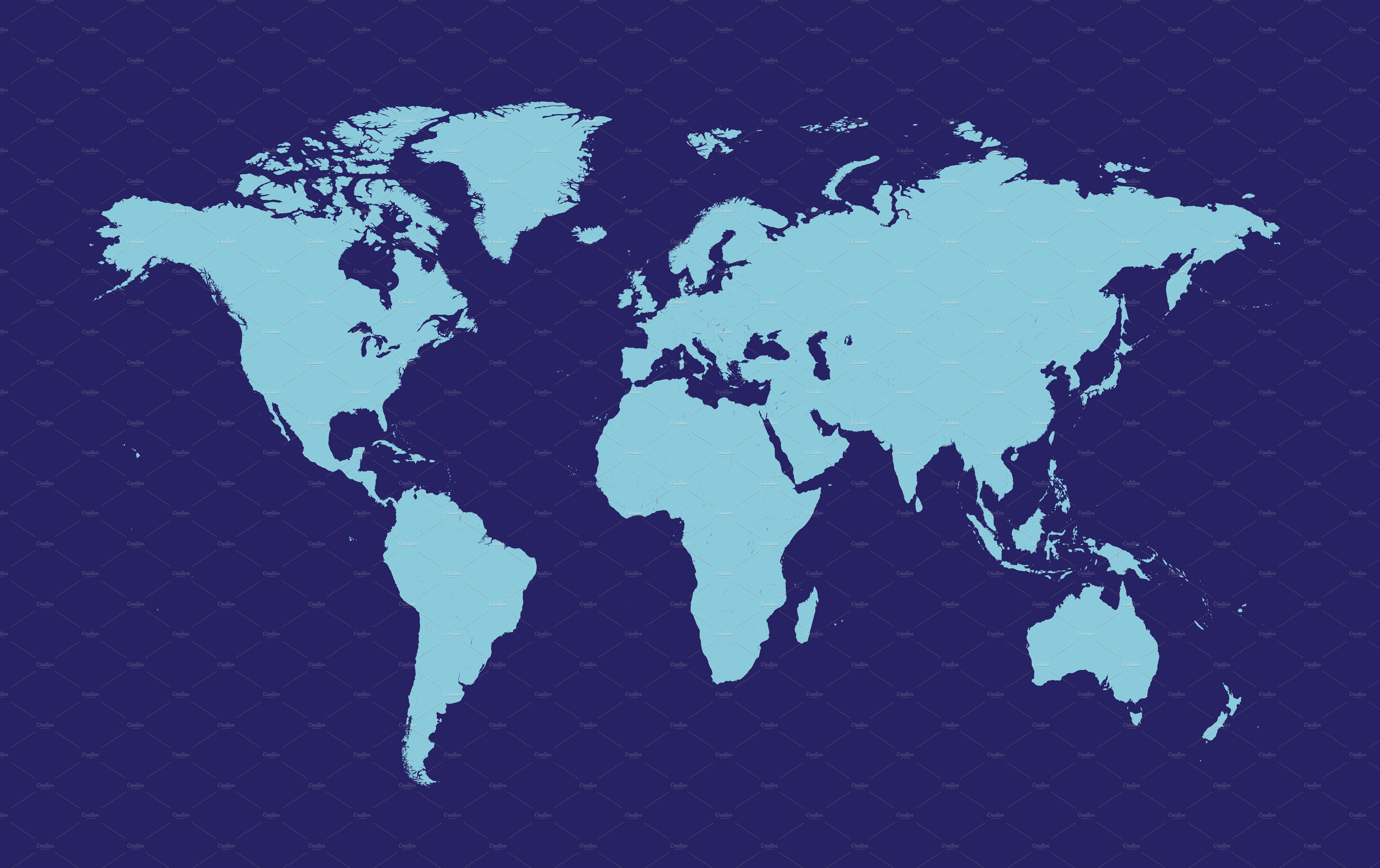 World Map Dark Blue Web Elements Creative Market - World map flat