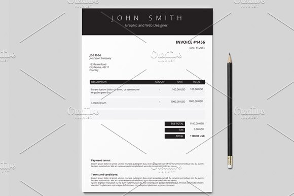 Invoice Template Colours Stationery Templates Creative Market - Invoice design template