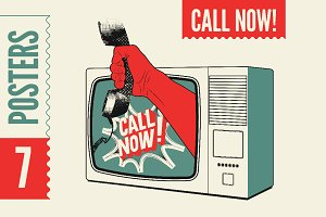 Call Now! Typographic retro poster.