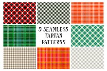 9 seamless Tartan patterns