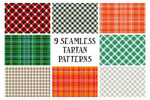 9 seamless Tartan patterns