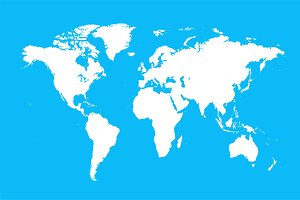 World map vector light blue