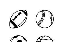 Simple black icons of balls