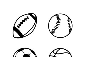 Simple black icons of balls