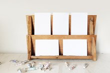 Wood Rack Mockup Styled Stock Photo