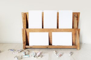 Wood Rack Mockup Styled Stock Photo