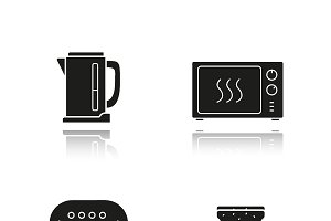 Kitchen appliances icons. Vector