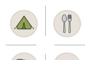 Camping icons . Vector