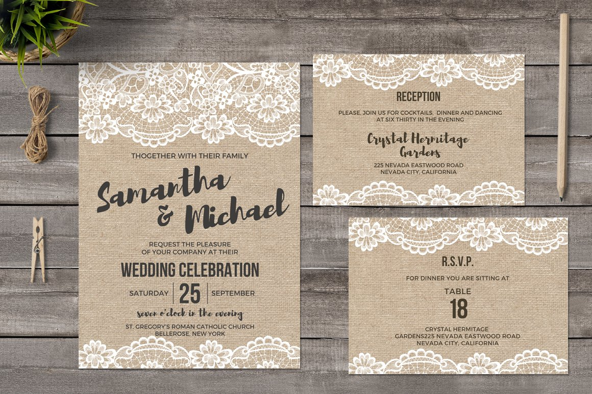 burlap and lace wedding invitations invitation templates creative market. Black Bedroom Furniture Sets. Home Design Ideas