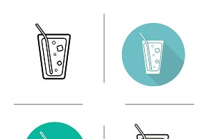 Lemonade drink icons. Vector
